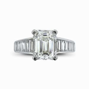 Emerald Cut  Engagement Ring With Baguette Cut Shoulders 2.01ct GVVS2 LFDG